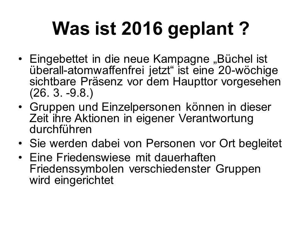 Was ist 2016 geplant .