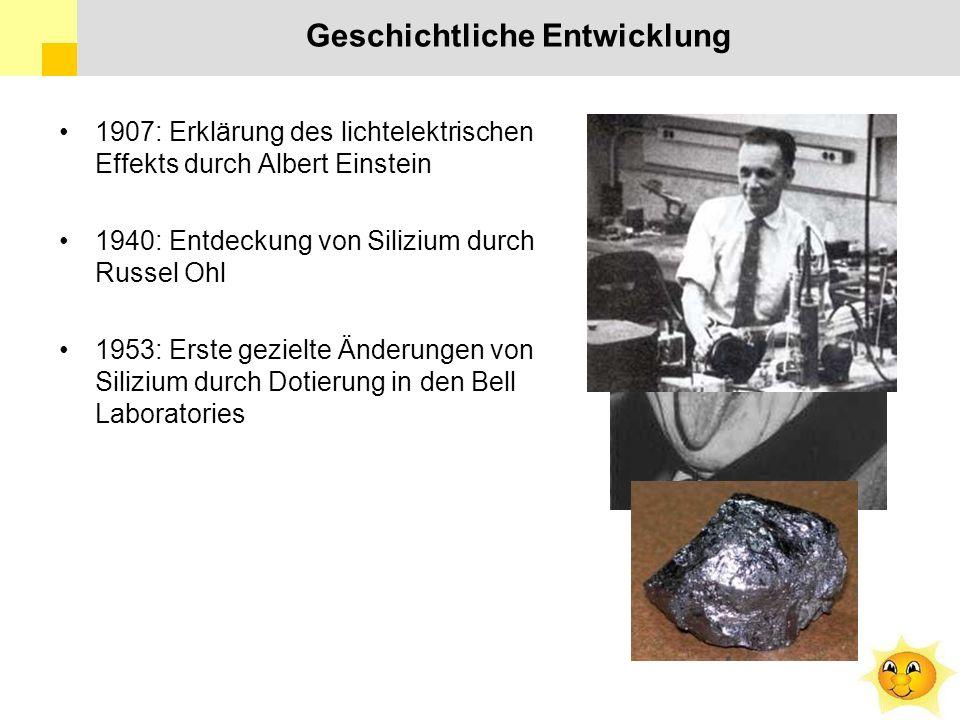 Geschichtliche Entwicklung 1907: Erklärung des lichtelektrischen Effekts durch Albert Einstein 1940: Entdeckung von Silizium durch Russel Ohl 1953: Erste gezielte Änderungen von Silizium durch Dotierung in den Bell Laboratories
