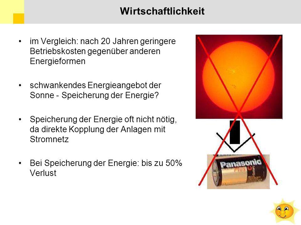 Wirtschaftlichkeit im Vergleich: nach 20 Jahren geringere Betriebskosten gegenüber anderen Energieformen schwankendes Energieangebot der Sonne - Speicherung der Energie.