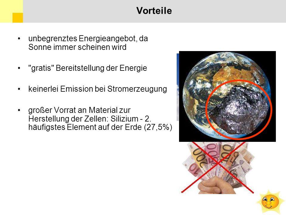 Vorteile unbegrenztes Energieangebot, da Sonne immer scheinen wird gratis Bereitstellung der Energie keinerlei Emission bei Stromerzeugung großer Vorrat an Material zur Herstellung der Zellen: Silizium - 2.