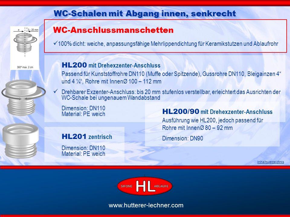 HL200 mit Drehexzenter-Anschluss Passend für Kunststoffrohre DN110 (Muffe oder Spitzende), Gussrohre DN110, Bleigainzen 4 und 4 ¼ , Rohre mit InnenØ 100 – 112 mm Drehbarer Exzenter-Anschluss: bis 20 mm stufenlos verstellbar, erleichtert das Ausrichten der WC-Schale bei ungenauem Wandabstand Dimension: DN110 Material: PE weich Inhaltsverzeichnis WC-Schalen mit Abgang innen, senkrecht WC-Anschlussmanschetten 100% dicht: weiche, anpassungsfähige Mehrlippendichtung für Keramikstutzen und Ablaufrohr HL201 zentrisch Dimension: DN110 Material: PE weich HL200/90 mit Drehexzenter-Anschluss Ausführung wie HL200, jedoch passend für Rohre mit InnenØ 80 – 92 mm Dimension: DN90