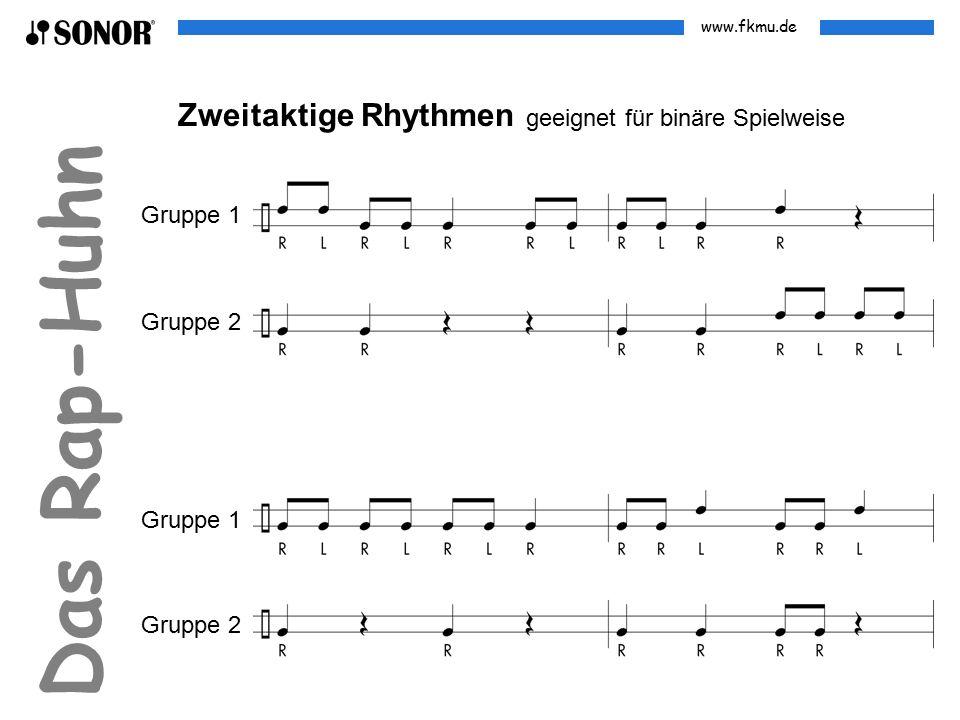 www.fkmu.de Das Rap-Huhn Zweitaktige Rhythmen geeignet für binäre Spielweise Gruppe 1 Gruppe 2 Gruppe 1 Gruppe 2