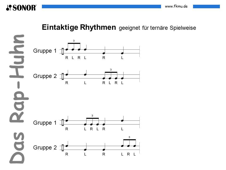 www.fkmu.de Das Rap-Huhn Eintaktige Rhythmen geeignet für ternäre Spielweise Gruppe 1 Gruppe 2 Gruppe 1 Gruppe 2