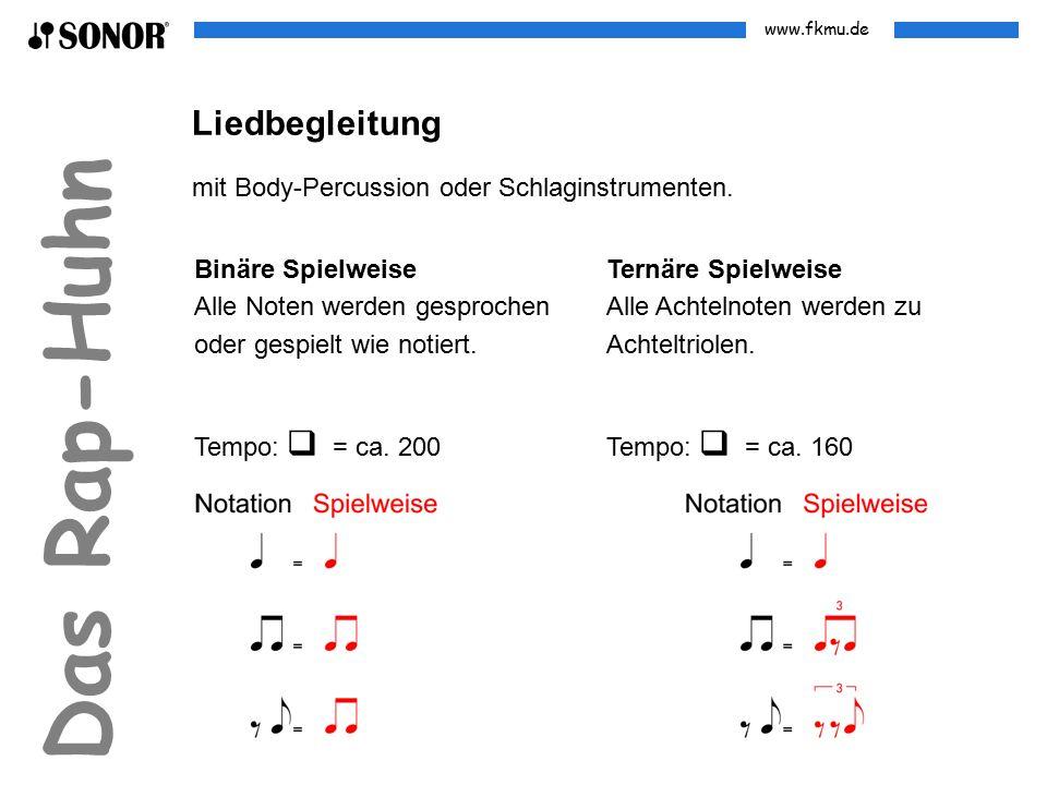 www.fkmu.de Das Rap-Huhn Binäre Spielweise Alle Noten werden gesprochen oder gespielt wie notiert. Liedbegleitung mit Body-Percussion oder Schlaginstr