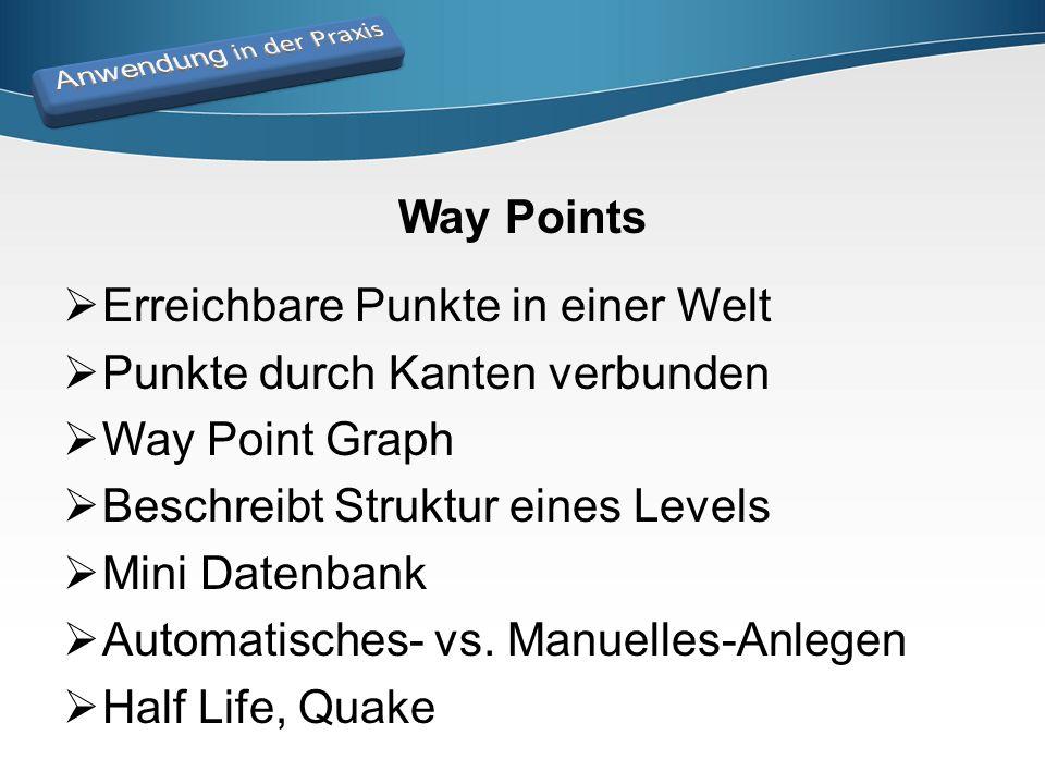 Way Points  Erreichbare Punkte in einer Welt  Punkte durch Kanten verbunden  Way Point Graph  Beschreibt Struktur eines Levels  Mini Datenbank 