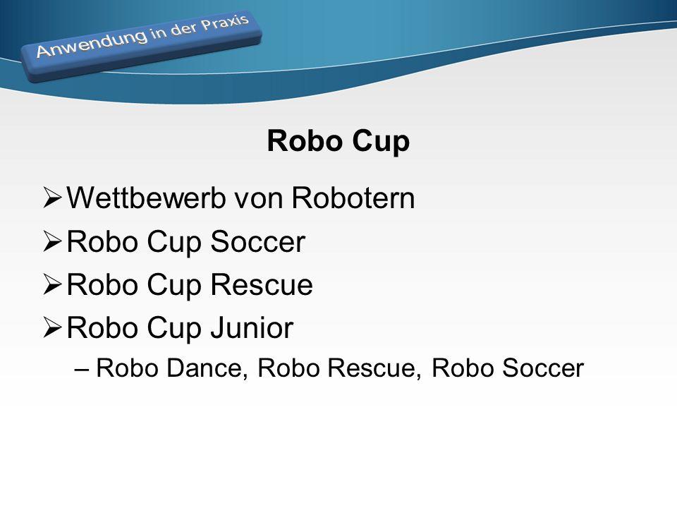 Robo Cup  Wettbewerb von Robotern  Robo Cup Soccer  Robo Cup Rescue  Robo Cup Junior –Robo Dance, Robo Rescue, Robo Soccer