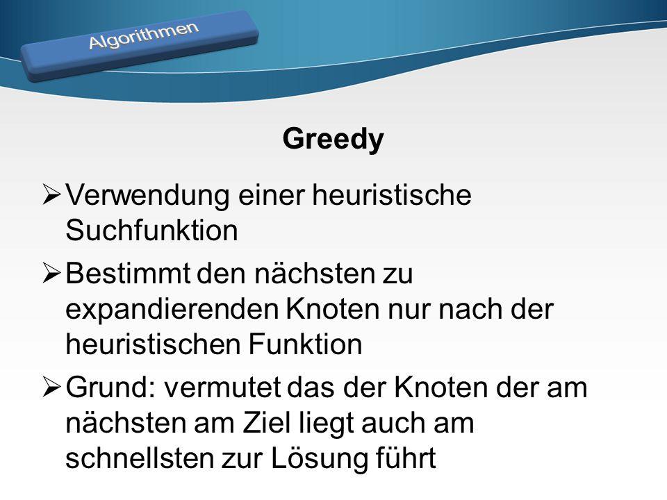 Fluss Brücke Greedy Beispiel Start: 1 Ziel: 5 Heuristik (X  5): 7 1: 2 2 2: 1 3: 3 2 8 4: 1 5: 0 3 1 2 43 5