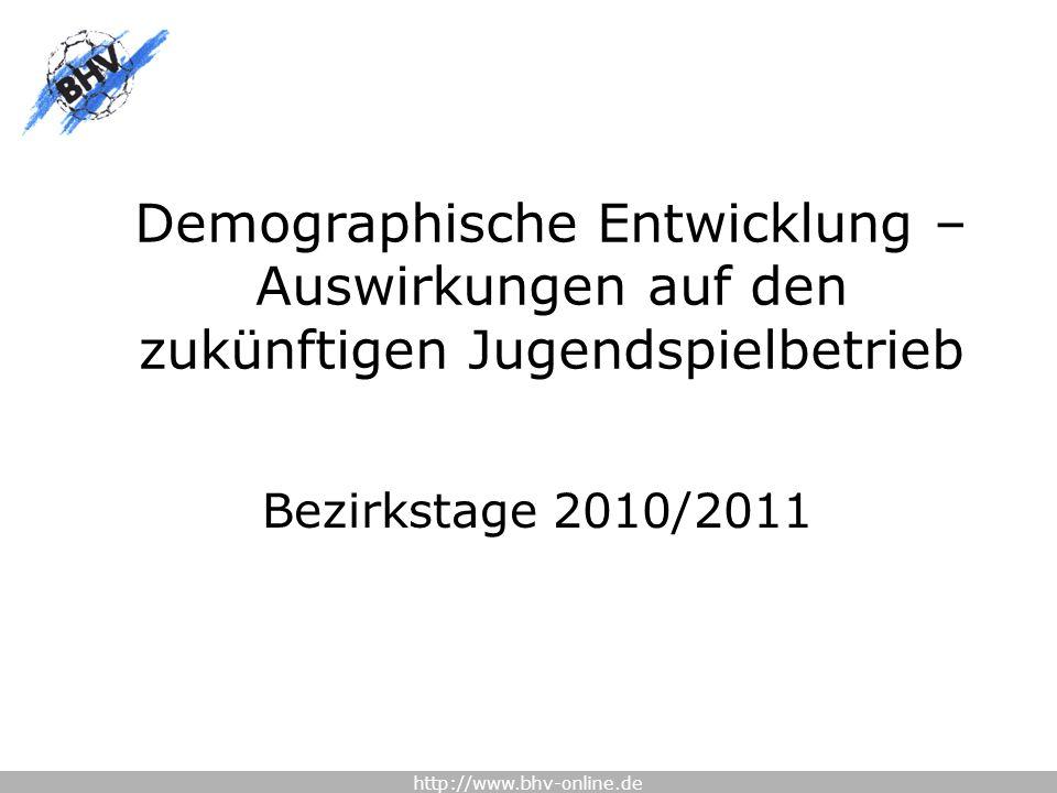http://www.bhv-online.de Demographische Entwicklung – Auswirkungen auf den zukünftigen Jugendspielbetrieb Bezirkstage 2010/2011