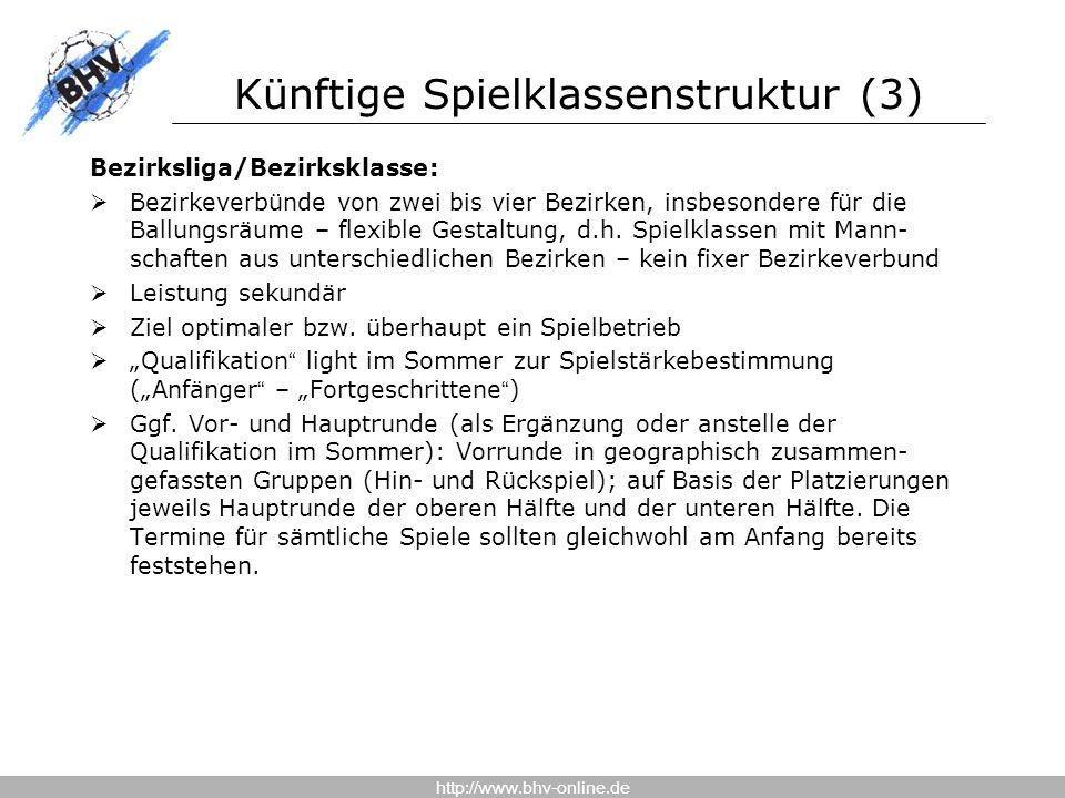 http://www.bhv-online.de Künftige Spielklassenstruktur (3) Bezirksliga/Bezirksklasse:  Bezirkeverbünde von zwei bis vier Bezirken, insbesondere für die Ballungsräume – flexible Gestaltung, d.h.