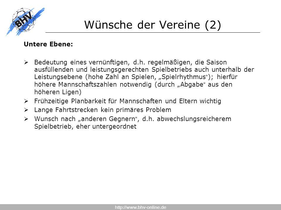 http://www.bhv-online.de Wünsche der Vereine (2) Untere Ebene:  Bedeutung eines vernünftigen, d.h.