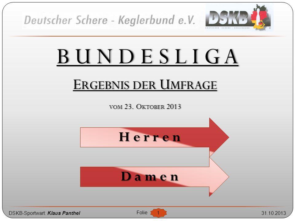 DSKB-Sportwart: Klaus Panthel31.10.2013 Folie 2 Bundesliga - Umfrageergebnis B ETEILIGUNG H ERREN -B UNDESLIGA