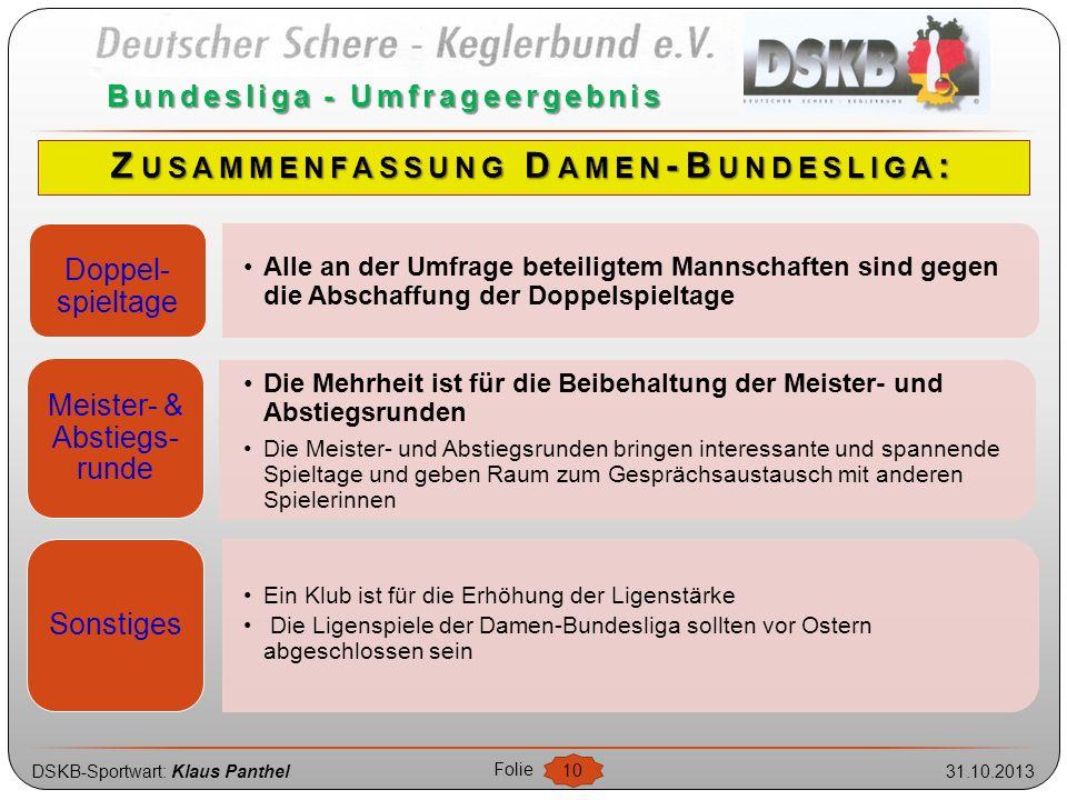 DSKB-Sportwart: Klaus Panthel31.10.2013 Folie 10 Bundesliga - Umfrageergebnis Doppel- spieltage Alle an der Umfrage beteiligtem Mannschaften sind gege