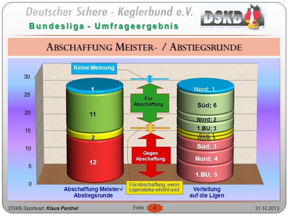 DSKB-Sportwart: Klaus Panthel31.10.2013 Folie 5 Bundesliga - Umfrageergebnis Gegen Erhöhung Alle BU-Ligen erhöhen, wenn M/A abgeschafft werden Alle BU-Ligen erhöhen Nur 1.