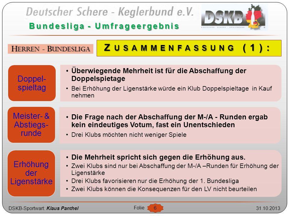 DSKB-Sportwart: Klaus Panthel31.10.2013 Folie 6 Bundesliga - Umfrageergebnis HERREN - BUNDESLIGA Doppel- spieltag Überwiegende Mehrheit ist für die Ab