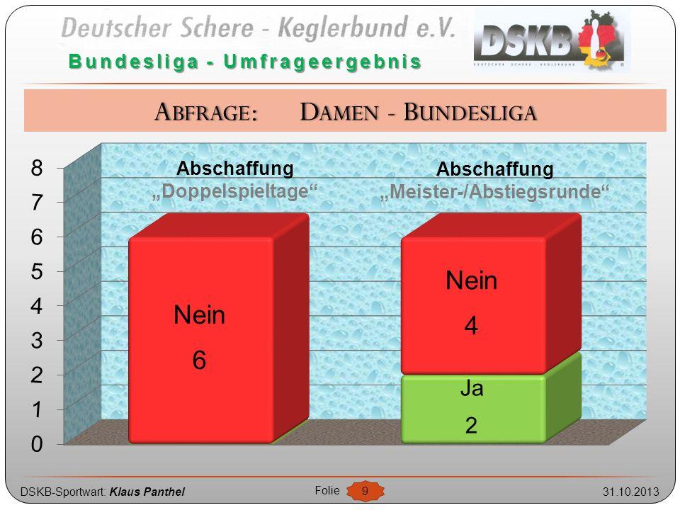 """DSKB-Sportwart: Klaus Panthel31.10.2013 Folie 9 Bundesliga - Umfrageergebnis Abschaffung """"Meister-/Abstiegsrunde"""" Abschaffung """"Doppelspieltage"""" ABFRAG"""