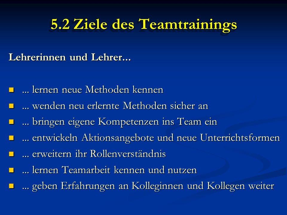 5.2 Ziele des Teamtrainings Lehrerinnen und Lehrer......