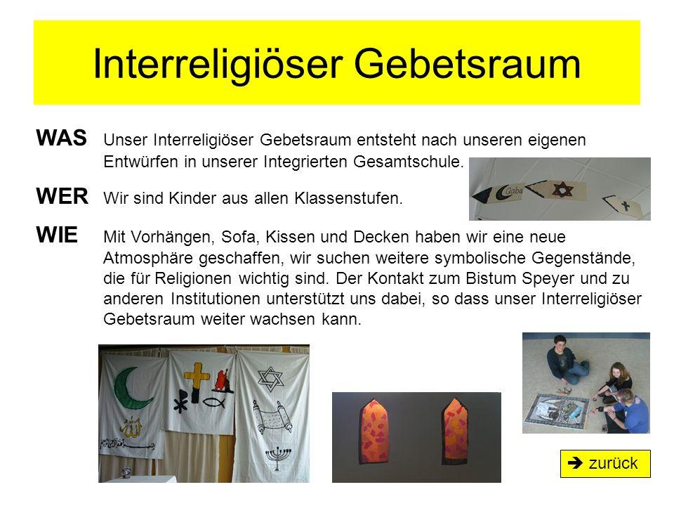 Interreligiöser Gebetsraum  zurück WAS Unser Interreligiöser Gebetsraum entsteht nach unseren eigenen Entwürfen in unserer Integrierten Gesamtschule.