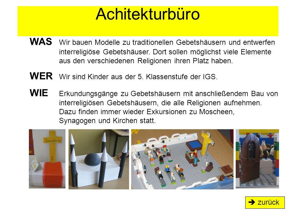 Achitekturbüro  zurück WAS Wir bauen Modelle zu traditionellen Gebetshäusern und entwerfen interreligiöse Gebetshäuser. Dort sollen möglichst viele E