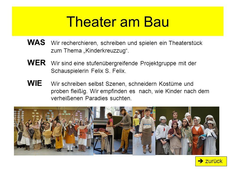 """Theater am Bau  zurück WAS Wir recherchieren, schreiben und spielen ein Theaterstück zum Thema """"Kinderkreuzzug"""". WER Wir sind eine stufenübergreifend"""