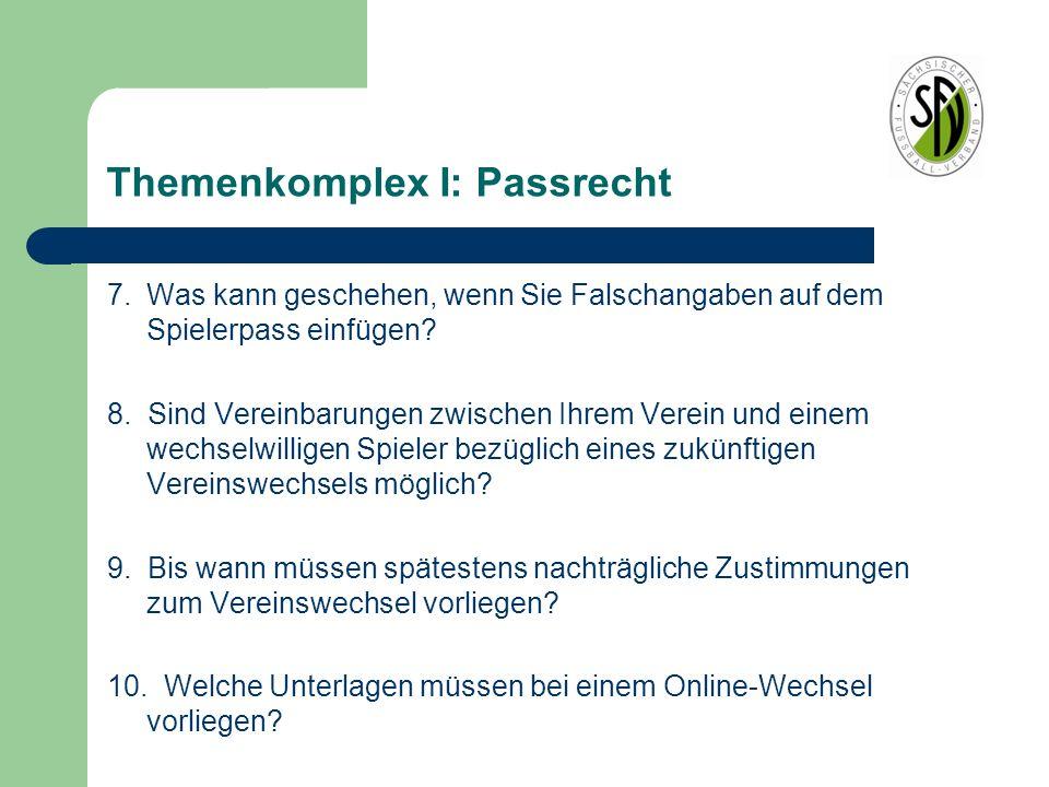 Themenkomplex I: Passrecht