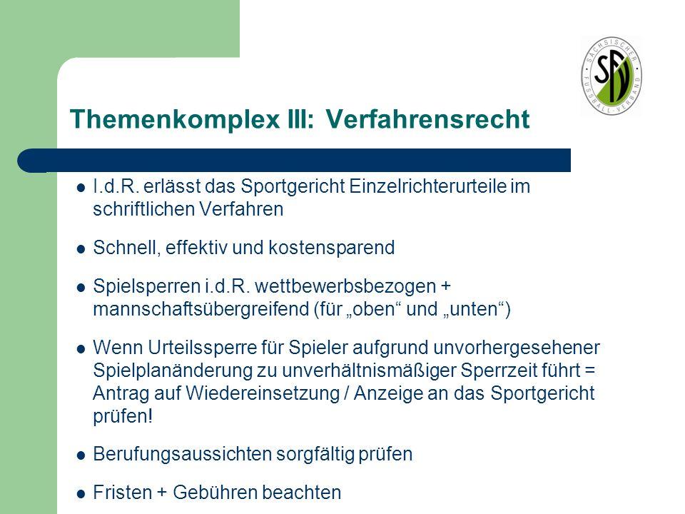 Themenkomplex III: Verfahrensrecht I.d.R. erlässt das Sportgericht Einzelrichterurteile im schriftlichen Verfahren Schnell, effektiv und kostensparend
