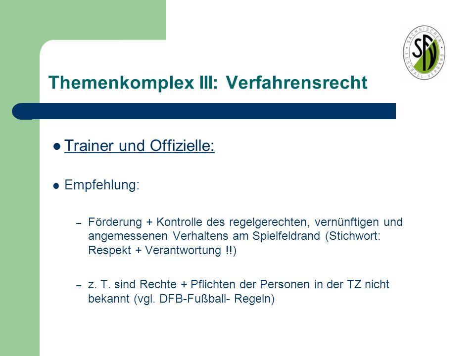 Themenkomplex III: Verfahrensrecht Trainer und Offizielle: Empfehlung: – Förderung + Kontrolle des regelgerechten, vernünftigen und angemessenen Verha