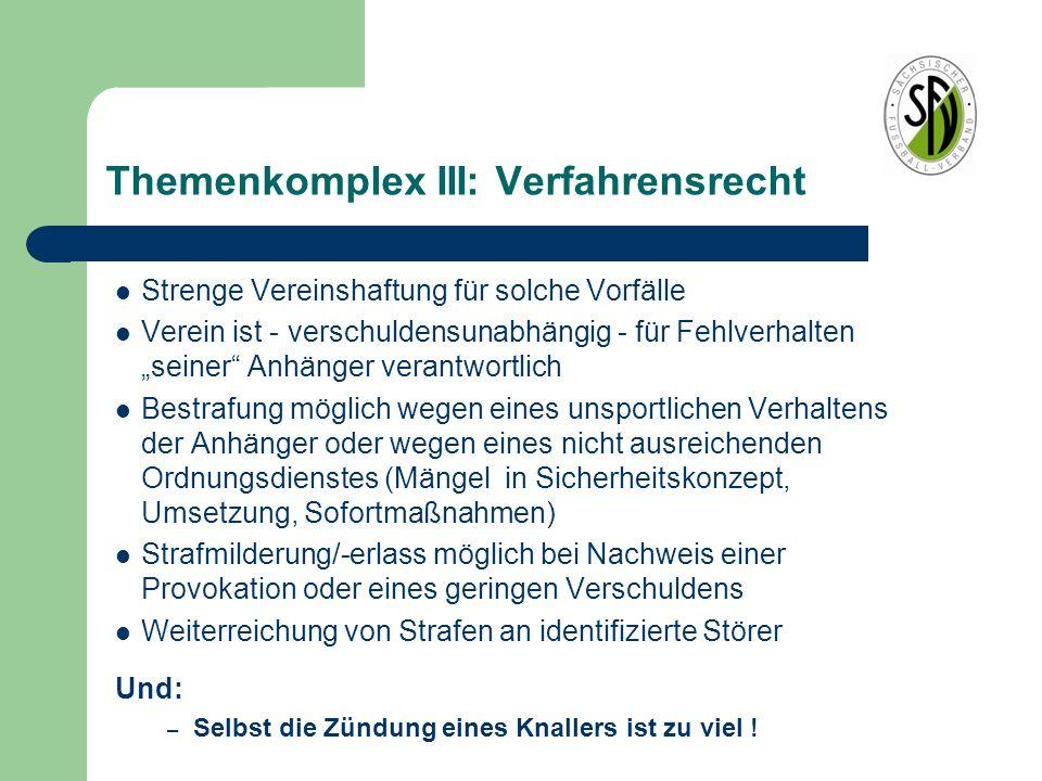 """Themenkomplex III: Verfahrensrecht Strenge Vereinshaftung für solche Vorfälle Verein ist - verschuldensunabhängig - für Fehlverhalten """"seiner"""" Anhänge"""