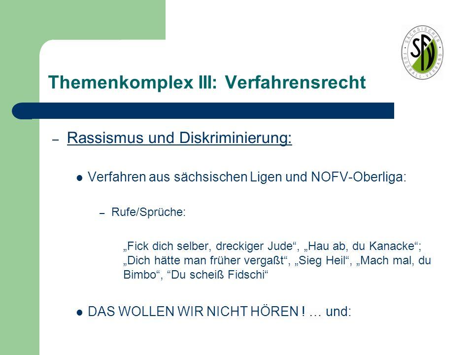 """Themenkomplex III: Verfahrensrecht – Rassismus und Diskriminierung: Verfahren aus sächsischen Ligen und NOFV-Oberliga: – Rufe/Sprüche: """"Fick dich selb"""