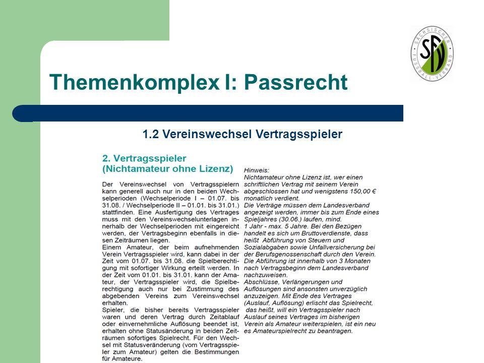 Themenkomplex I: Passrecht 1.2 Vereinswechsel Vertragsspieler