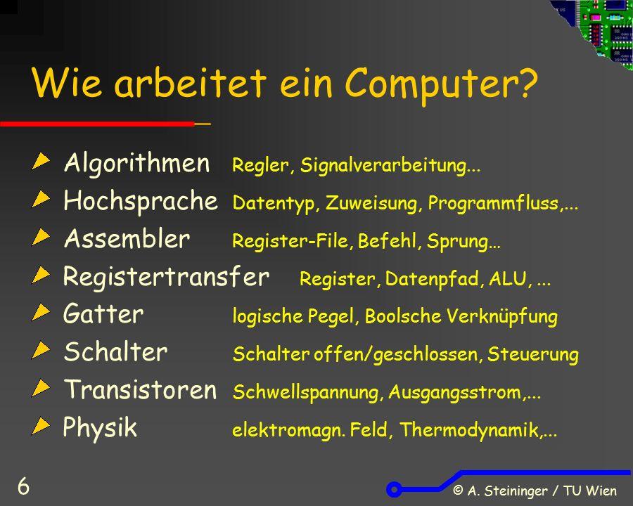 © A. Steininger / TU Wien 6 Wie arbeitet ein Computer.