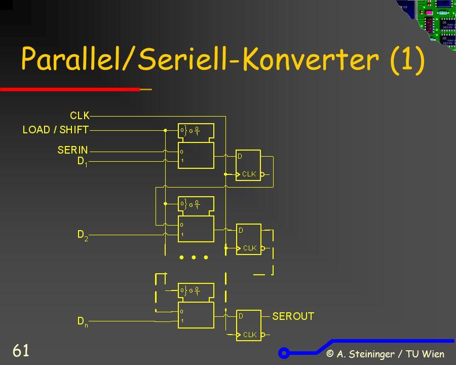 © A. Steininger / TU Wien 61 Parallel/Seriell-Konverter (1) …