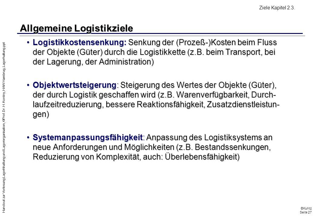 Handout zur Vorlesung Lagerhhaltung und Lagerorganisation, ©Prof. Dr. H. Kontny, HAW Hambrug, Lagerhaltung.ppt ©Kuhtz Seite 27 Allgemeine Logistikziel