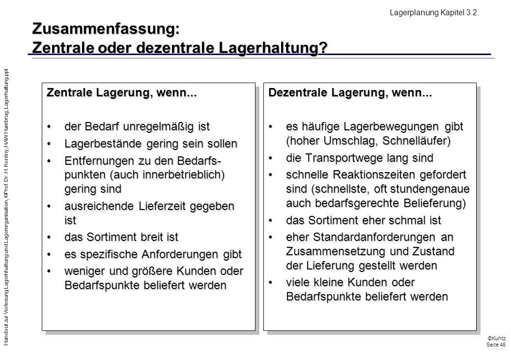 Handout zur Vorlesung Lagerhhaltung und Lagerorganisation, ©Prof. Dr. H. Kontny, HAW Hambrug, Lagerhaltung.ppt ©Kuhtz Seite 46 Zusammenfassung: Zentra