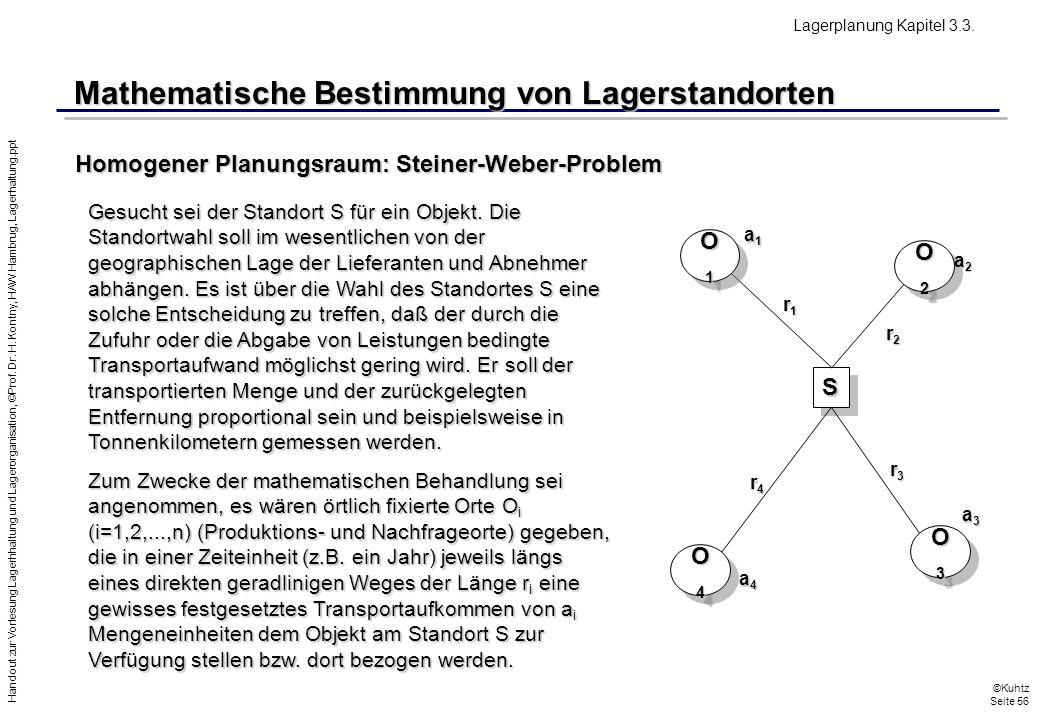 Handout zur Vorlesung Lagerhhaltung und Lagerorganisation, ©Prof. Dr. H. Kontny, HAW Hambrug, Lagerhaltung.ppt ©Kuhtz Seite 56 Mathematische Bestimmun