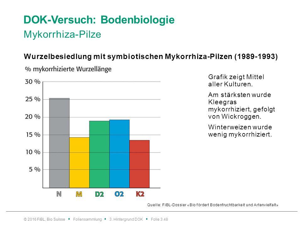 DOK-Versuch: Bodenbiologie Mykorrhiza-Pilze Quelle: FiBL-Dossier «Bio fördert Bodenfruchtbarkeit und Artenvielfalt» Wurzelbesiedlung mit symbiotischen Mykorrhiza-Pilzen (1989-1993) © 2016 FiBL, Bio Suisse Foliensammlung 3.