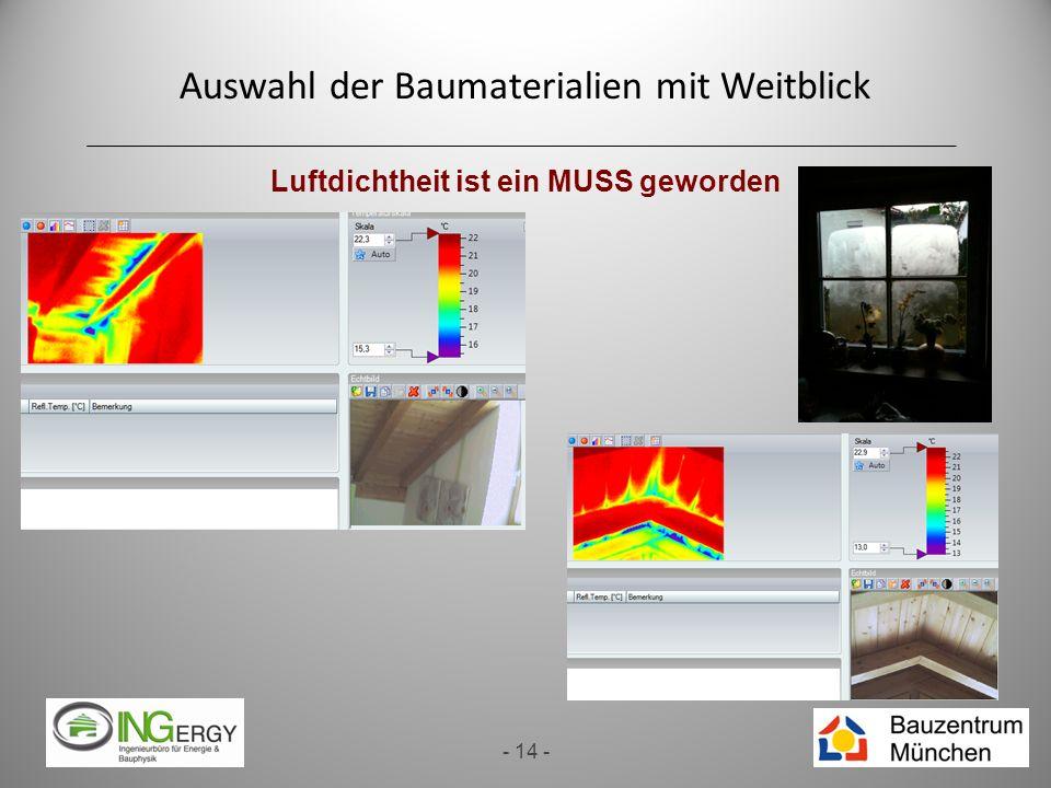 Auswahl der Baumaterialien mit Weitblick - 14 - Luftdichtheit ist ein MUSS geworden