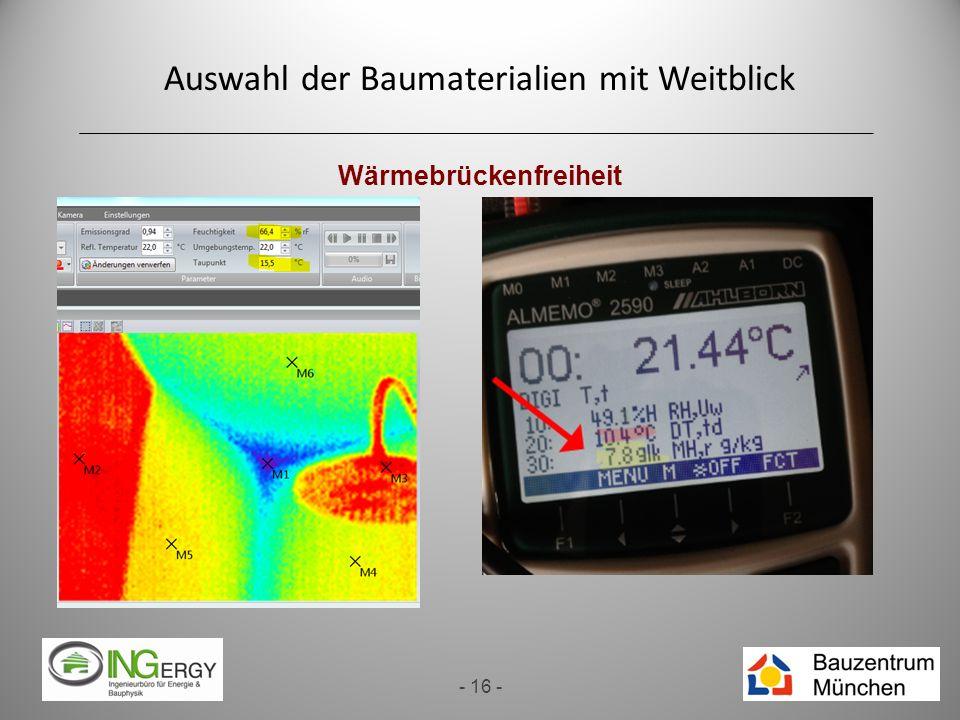 Auswahl der Baumaterialien mit Weitblick - 16 - Wärmebrückenfreiheit