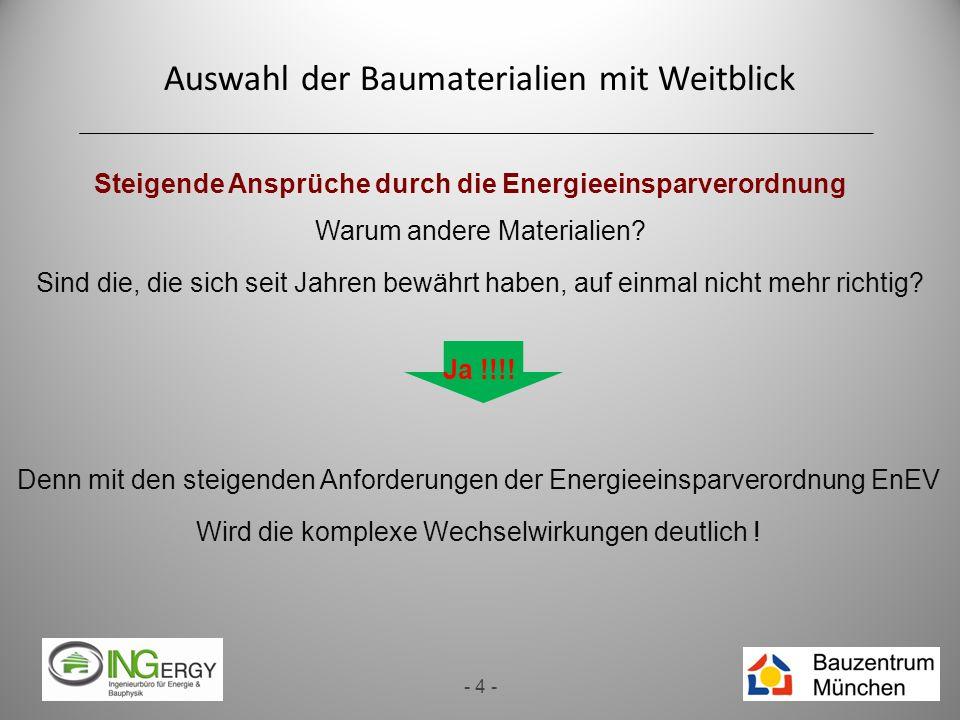 Auswahl der Baumaterialien mit Weitblick - 4 - Steigende Ansprüche durch die Energieeinsparverordnung Warum andere Materialien? Sind die, die sich sei