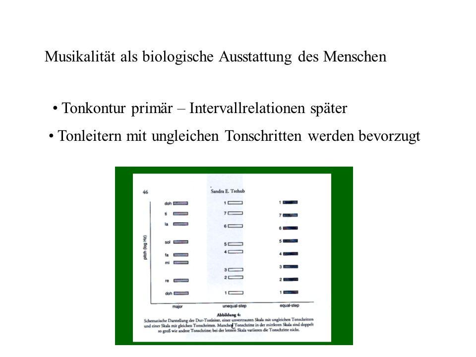 Musikalität als biologische Ausstattung des Menschen Tonkontur primär – Intervallrelationen später Tonleitern mit ungleichen Tonschritten werden bevorzugt