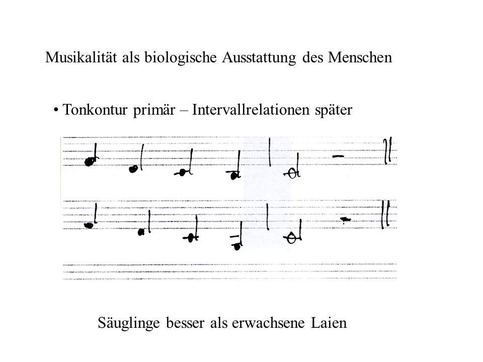Musikalität als biologische Ausstattung des Menschen Tonkontur primär – Intervallrelationen später Säuglinge besser als erwachsene Laien