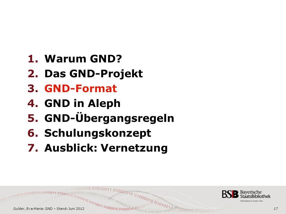 Gulder, Eva-Maria: GND – Stand: Juni 201217 1.Warum GND.