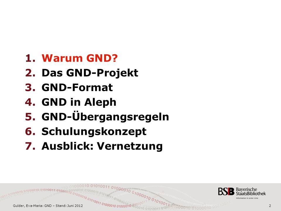 Gulder, Eva-Maria: GND – Stand: Juni 20122 1.Warum GND.