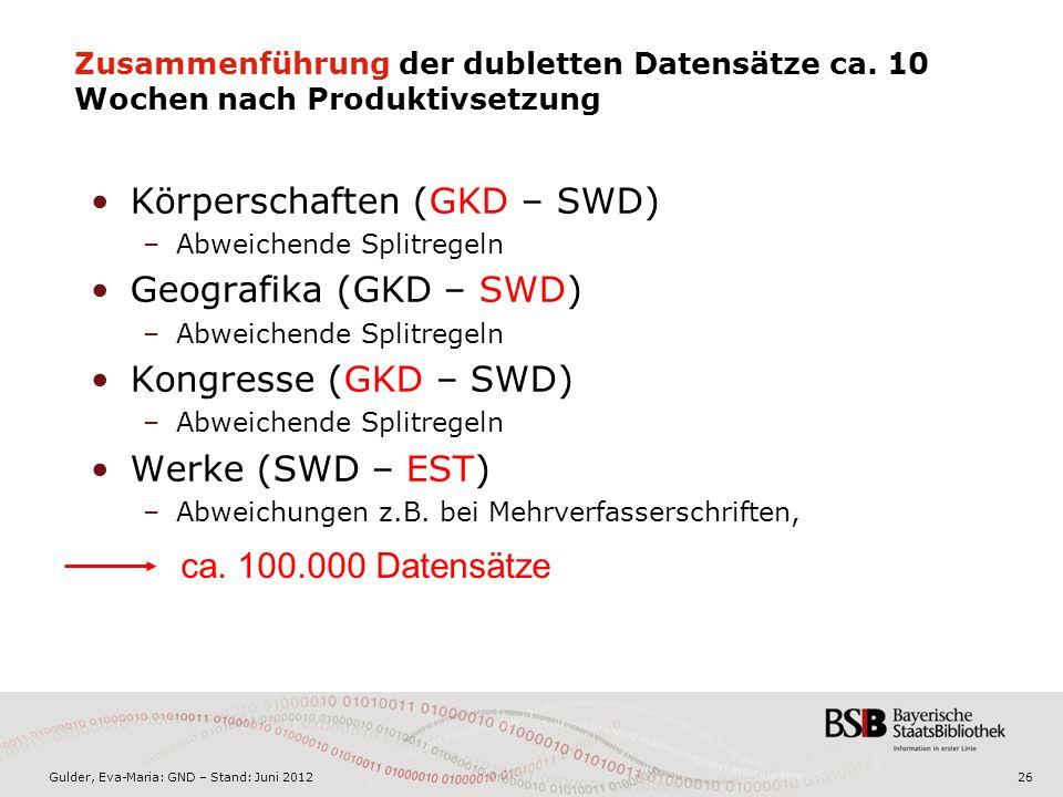 Gulder, Eva-Maria: GND – Stand: Juni 201226 Zusammenführung der dubletten Datensätze ca.
