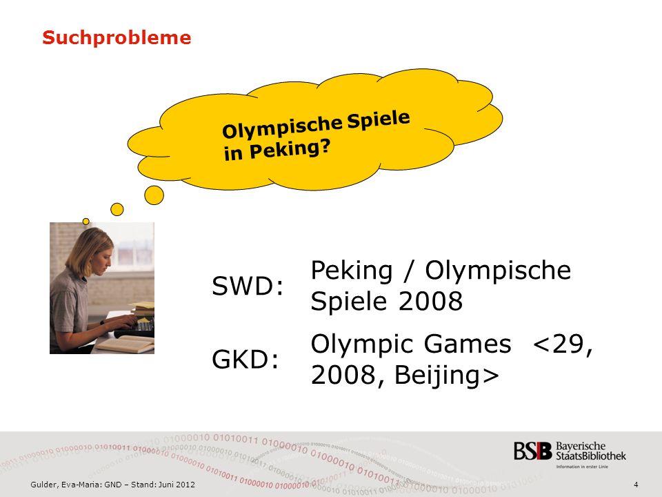Gulder, Eva-Maria: GND – Stand: Juni 20124 Suchprobleme Olympische Spiele in Peking.