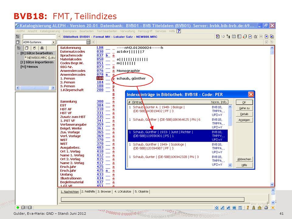 Gulder, Eva-Maria: GND – Stand: Juni 2012 BVB18: FMT, Teilindizes 41
