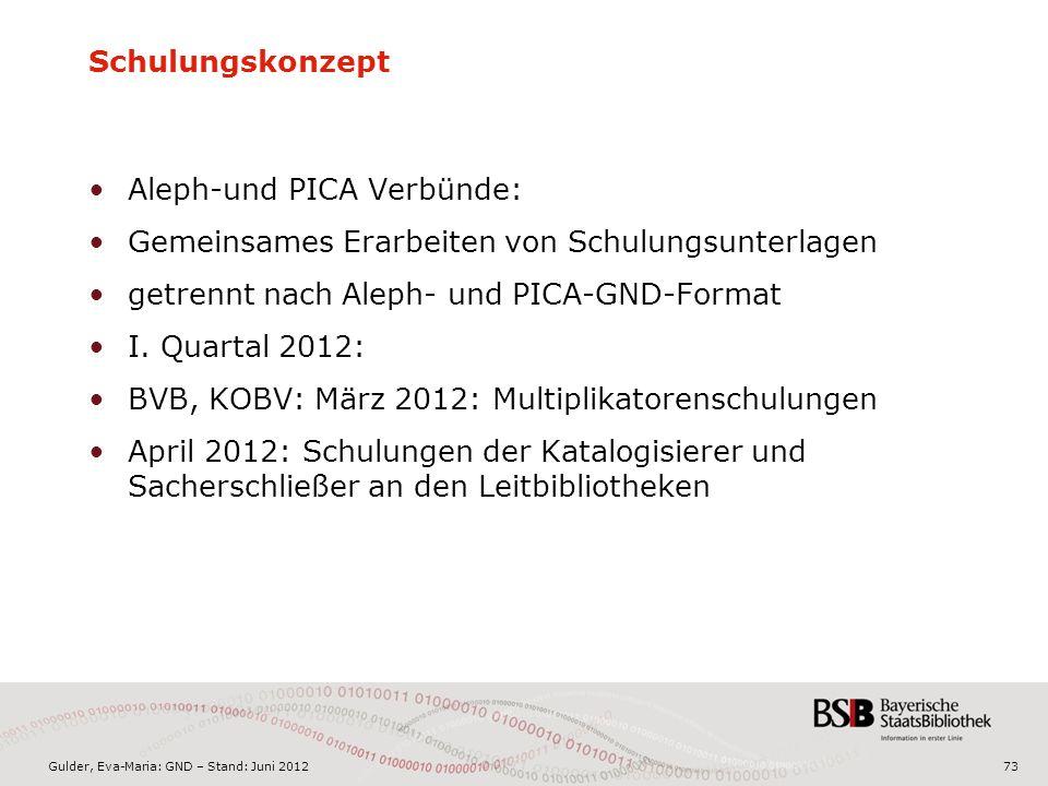 Gulder, Eva-Maria: GND – Stand: Juni 201273 Aleph-und PICA Verbünde: Gemeinsames Erarbeiten von Schulungsunterlagen getrennt nach Aleph- und PICA-GND-Format I.