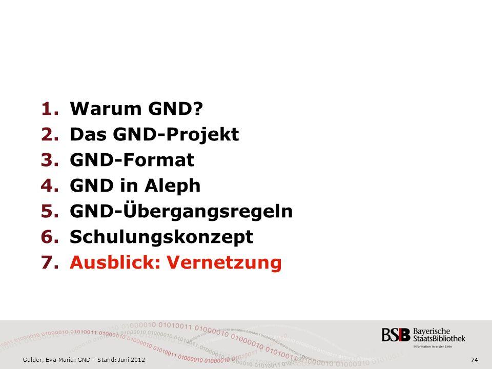 Gulder, Eva-Maria: GND – Stand: Juni 201274 1.Warum GND.