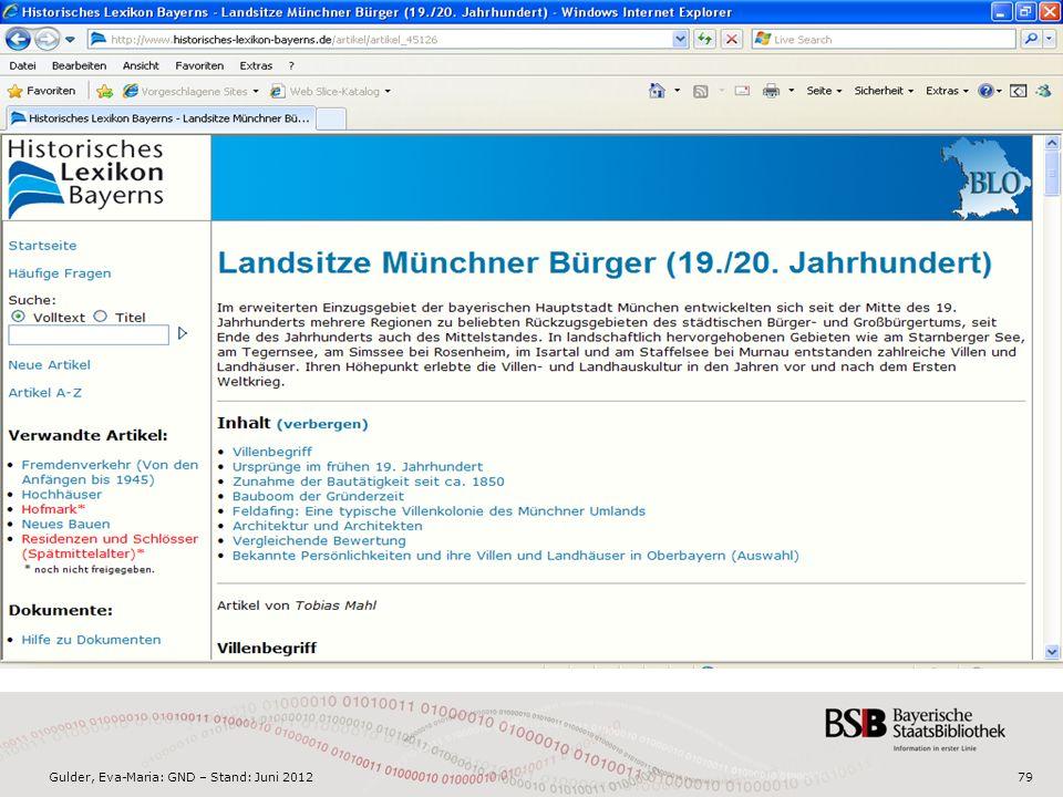 Gulder, Eva-Maria: GND – Stand: Juni 201279