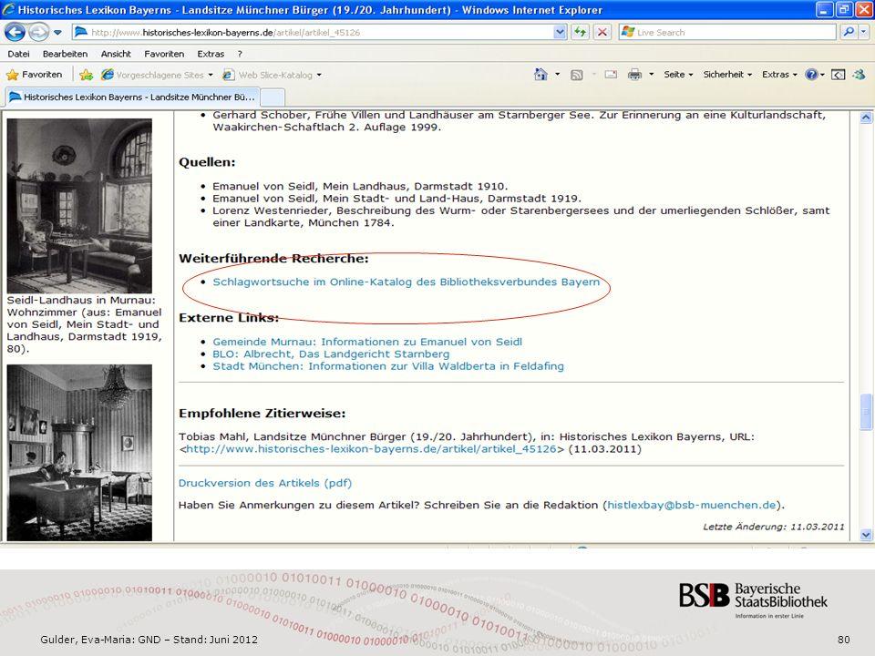 Gulder, Eva-Maria: GND – Stand: Juni 201280