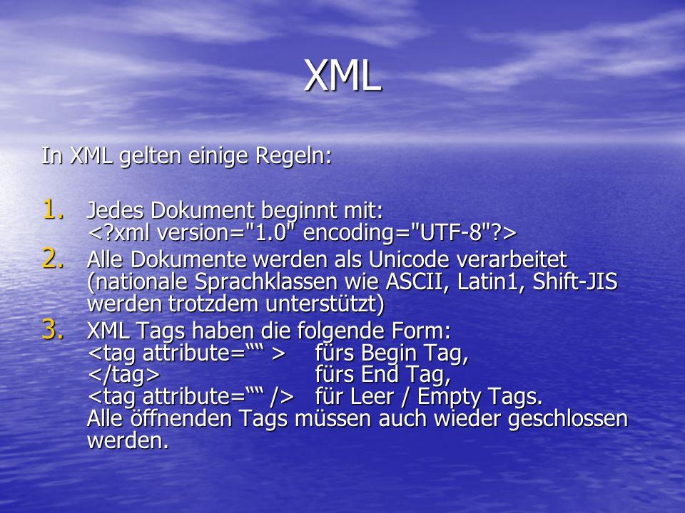 XML In XML gelten einige Regeln: 1. Jedes Dokument beginnt mit: 1.
